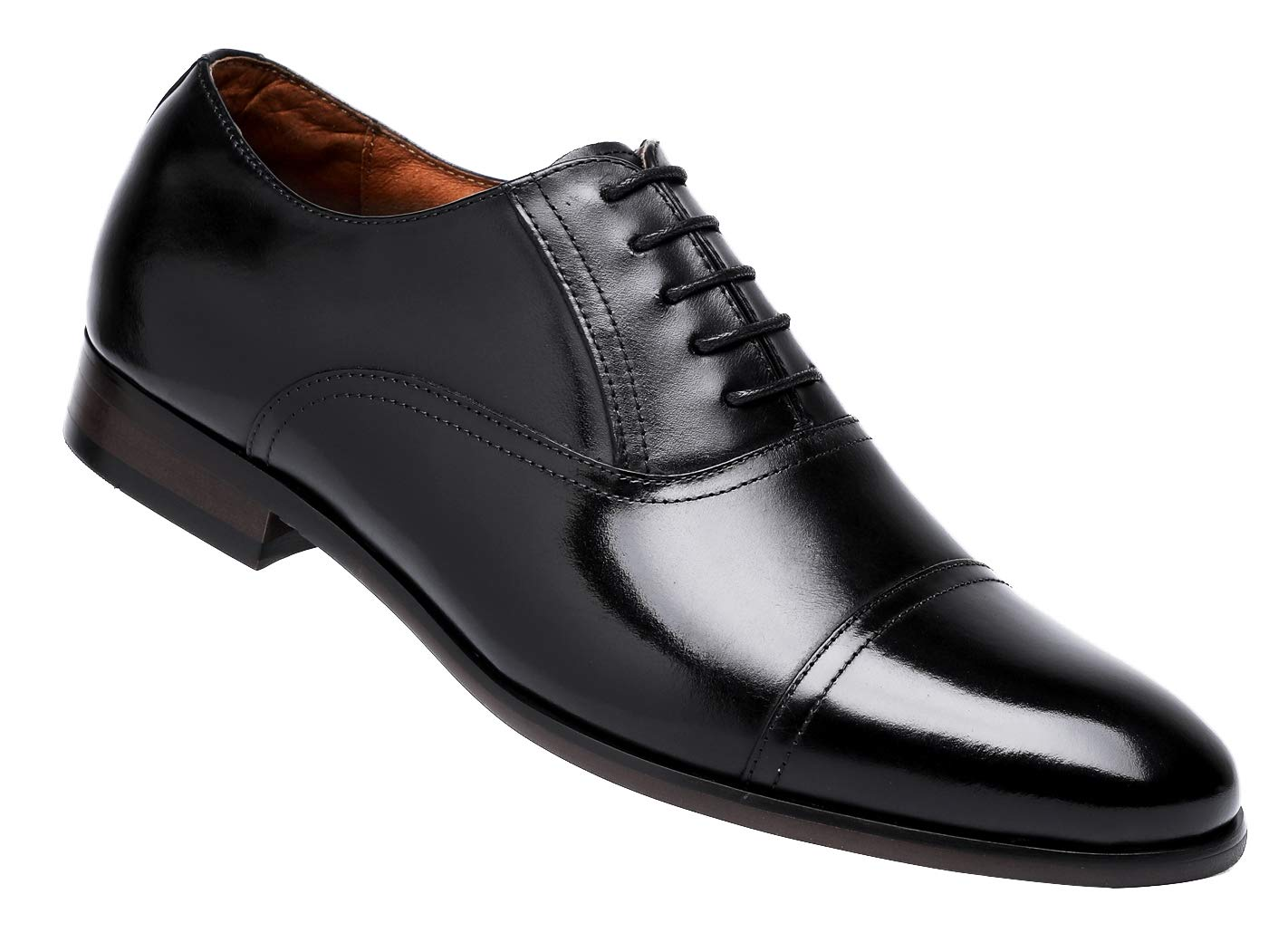 DESAI Men's Leather Dress Shoes Cap Toe Lace-up Oxford (11 M US, Black)