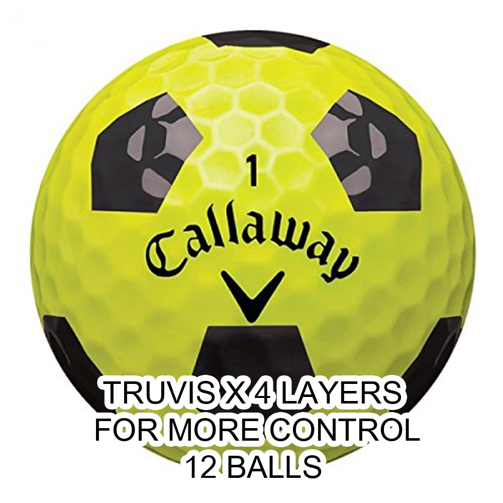 Callaway New 2018 Chrome Soft X Golf Balls - Made in the USA (12 Pack) Choose your Color (X-Truvis Black on Yellow (1 Dozen))