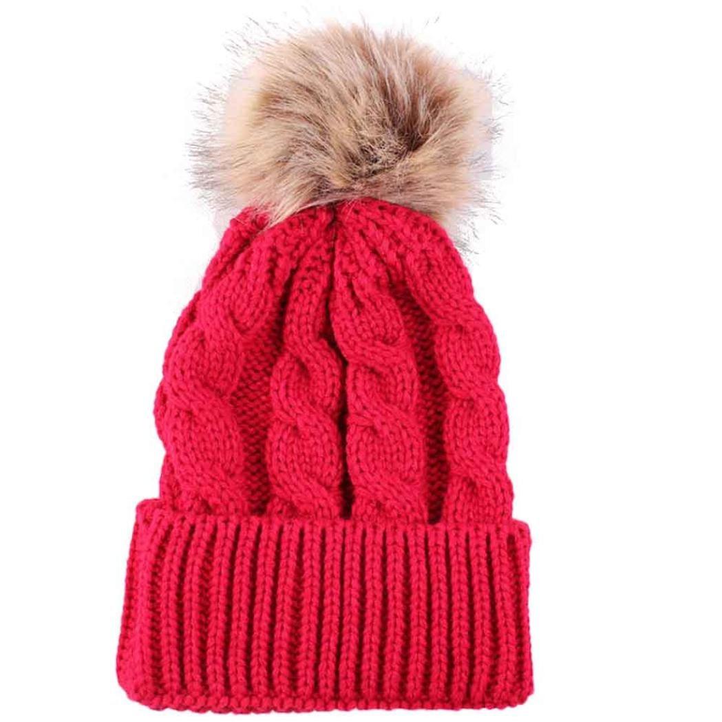 女性用帽子、smtsmt暖かい冬帽子ニットウールヘミングハット  レッド B01MEH3AC2