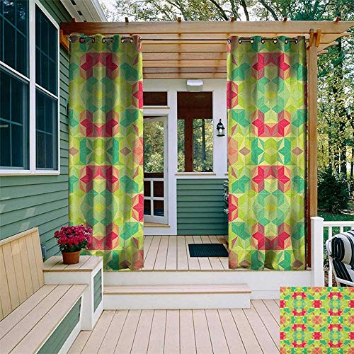 (Abstract, Outdoor Curtain Extra Wide, Fractal Mosaic Diagonal Digital Cubes Hexagon Forms Hipster Kaleidoscope Print, Fabric W120 x L108 Inch Multicolor)