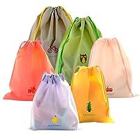 Sac à Cordon Coolzon® Ensemble de 6 Sacs Etanche Bagages Organisateurs PE Plastique Pliable Drawstring Bags Parfait pour Piscine Plage