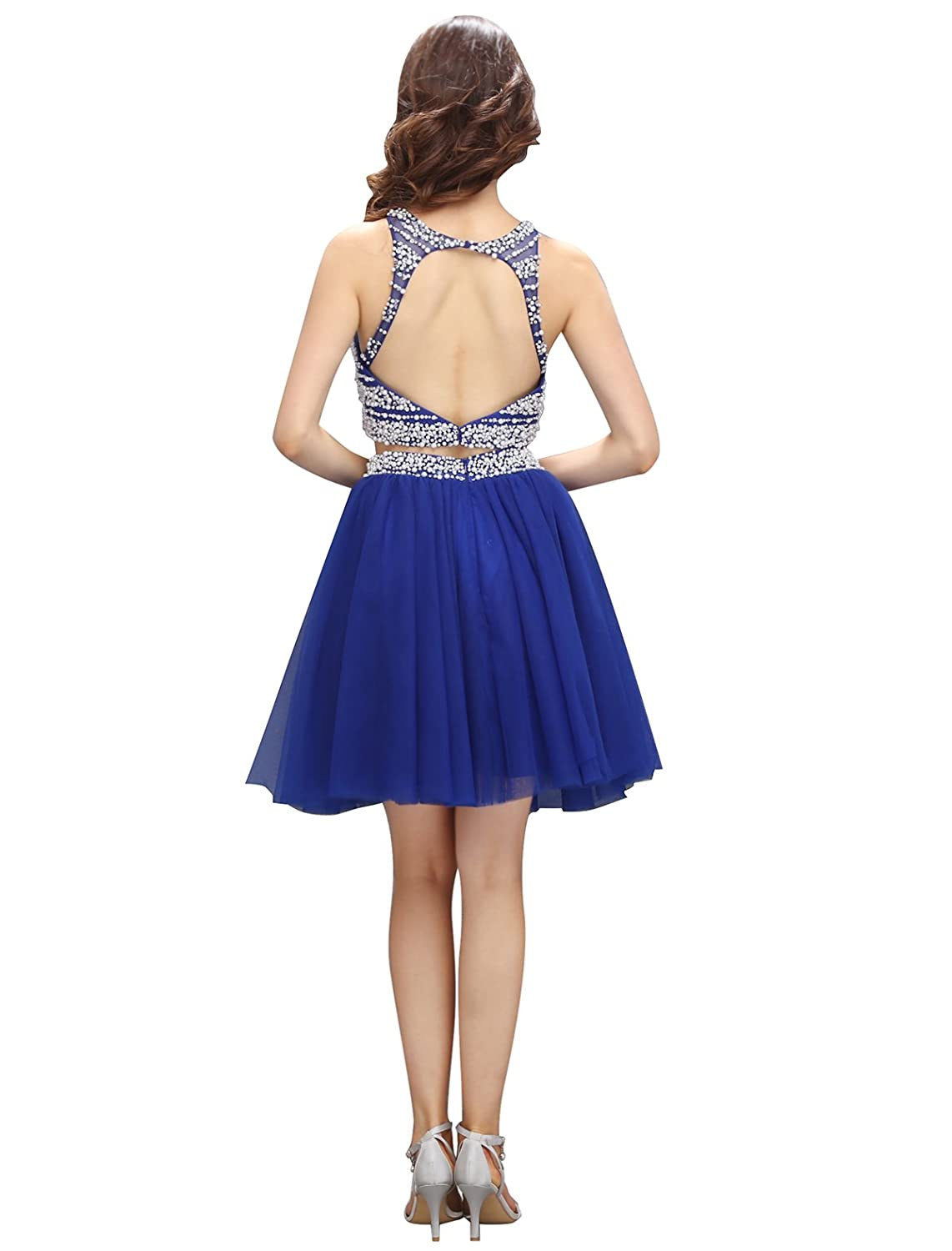 Dressystar Pearls Two Pieces Prom Dress Short Chiffon Homecoming Dress Backless