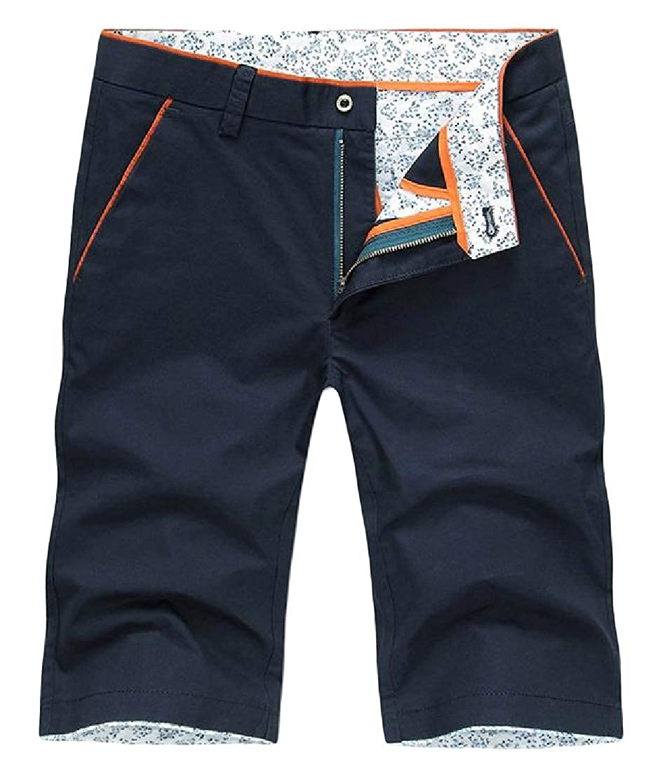 pipigo Men Flat-Front Solid Casual Straight Twill Swim Trunks Shorts