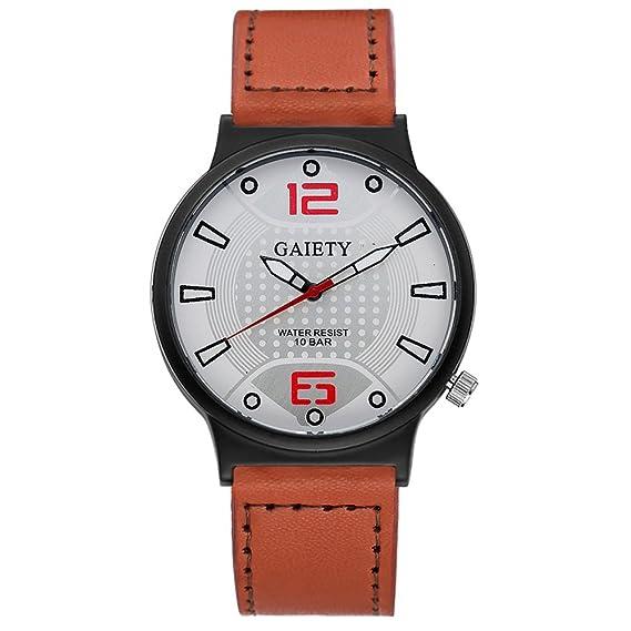 Funique Reloj de cuarzo para hombre, marco de oro rosa, pantalla digital romano (