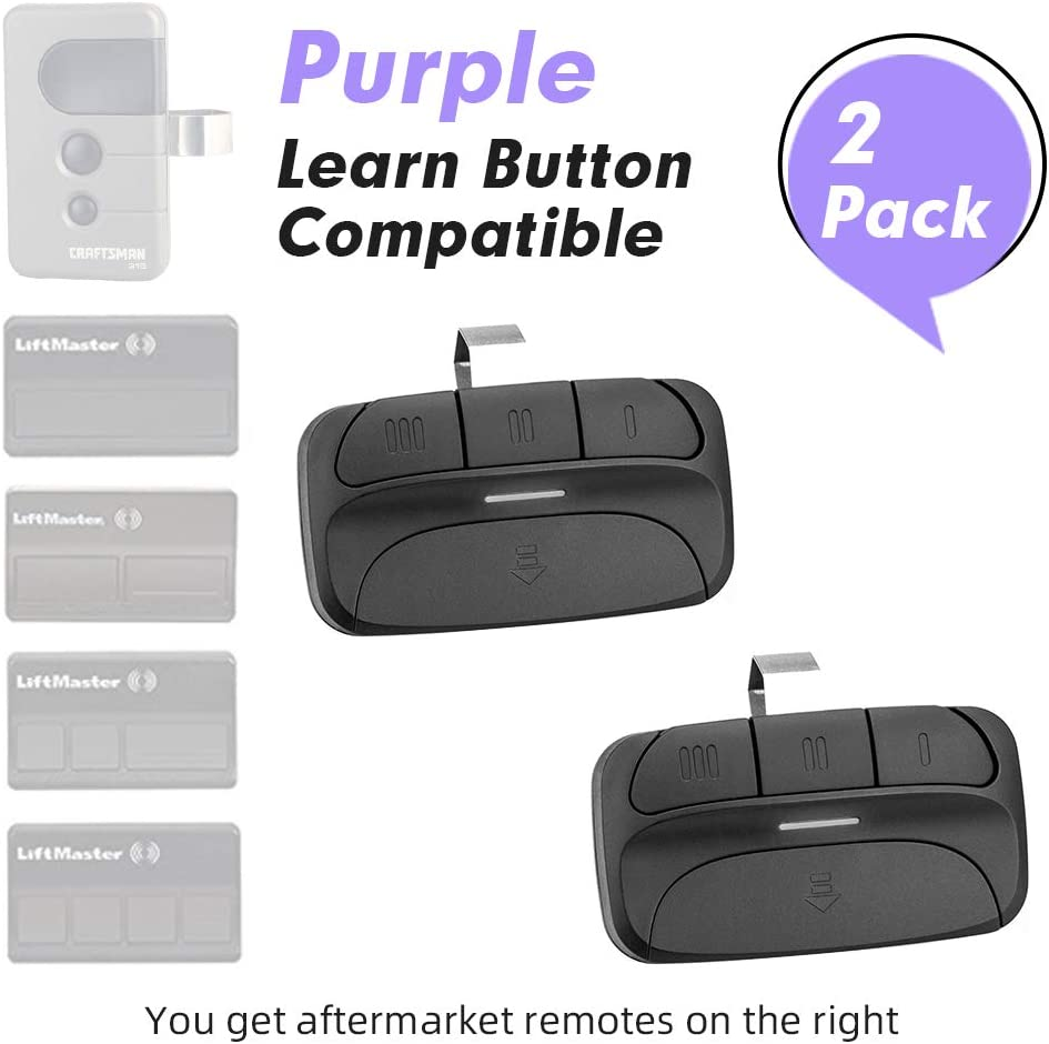 2 Pack Garage Door Opener Remote Replacement for 371LM 372LM 373LM Liftmaster Chamberlain Sears Craftsman with Purple Learn Button