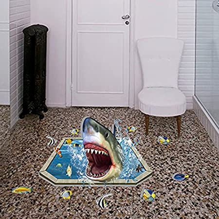 Crazy Lin 3d Shark Underwater World Floor Stickers Mordern Wall Decals Home Decoration Amazon Co Uk Diy Tools