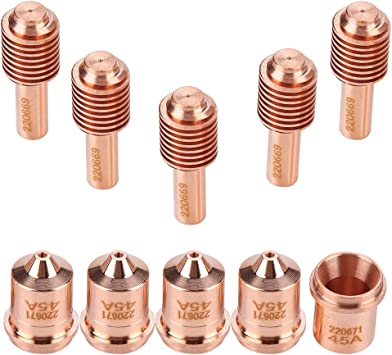 5pcs 220669 Electrode+5 pcs 220671 Nozzle Tips Plasma Torch Consumable For MAX45