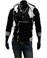 OUCHI Men's Oblique Zipper Cotton Top Coat Casual Slim Fit Hoodie Fashion Jacket