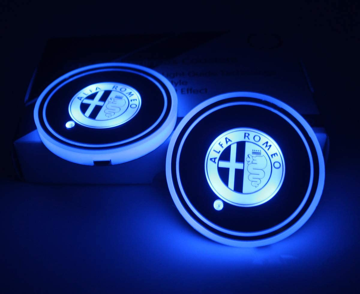 LED Interior Atmosphere Lamp License plate frameX 2pcs LED Car Cup Holder Lights for Infiniti 7 Colors Changing USB Charging Mat Luminescent Cup Pad Infiniti