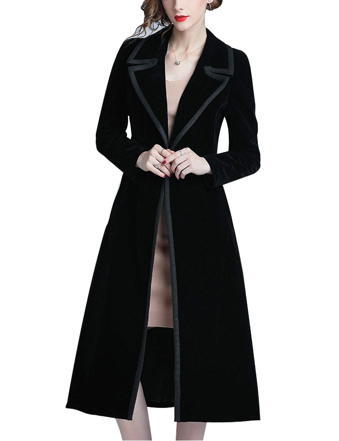 Omoone Women's Double Breasted Lapel Midi Long Vintage Velvet Trench Coat(0102-Black-M) by Omoone