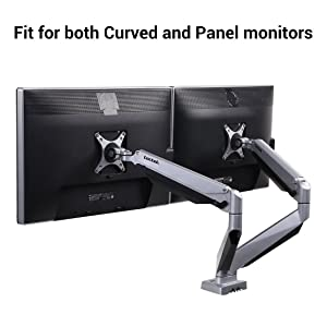 Loctek D7DR Dual Monitor Mount fits for Both Curved and Panel 24-34 inch Monitors Gas Spring Monitor Arm Desk Top Mounts LCD Arm (Weighting 8.8-22 lbs)