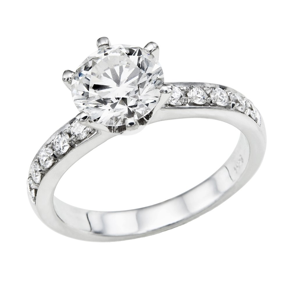 GIA Certified 14k white-gold Round Cut Diamond Engagement Ring (0.65 cttw, H Color, SI2 Clarity)