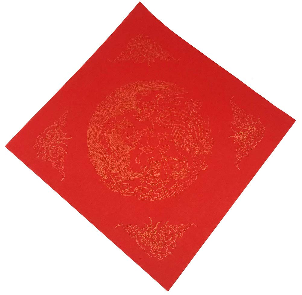 7402pcs Easyou Handmade Red Xuan Paper with Dragons and Phoenixes Coated for Couplet 7 Characters W:17L:102cm2pcs 5sets