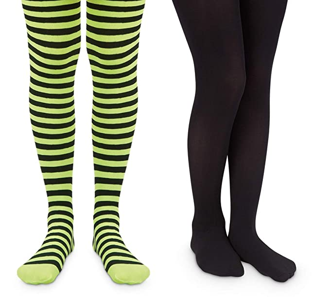 c4f37bad718b3 Jefferies Socks Girls Halloween Stripe Tight and Solid Nylon Tights 2 Pair  Pack (2-