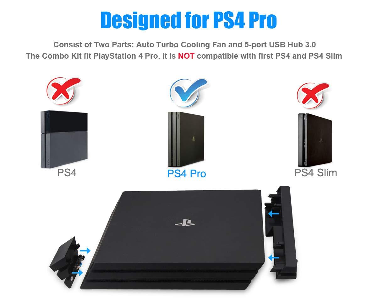 PeakLead PS4 Pro Ventilador de refrigeración & 5-Port USB Hub Combo Kit Ventiladores de Control De La Temperatura del Súper USB Cooling Fan Cooler Adaptador ...