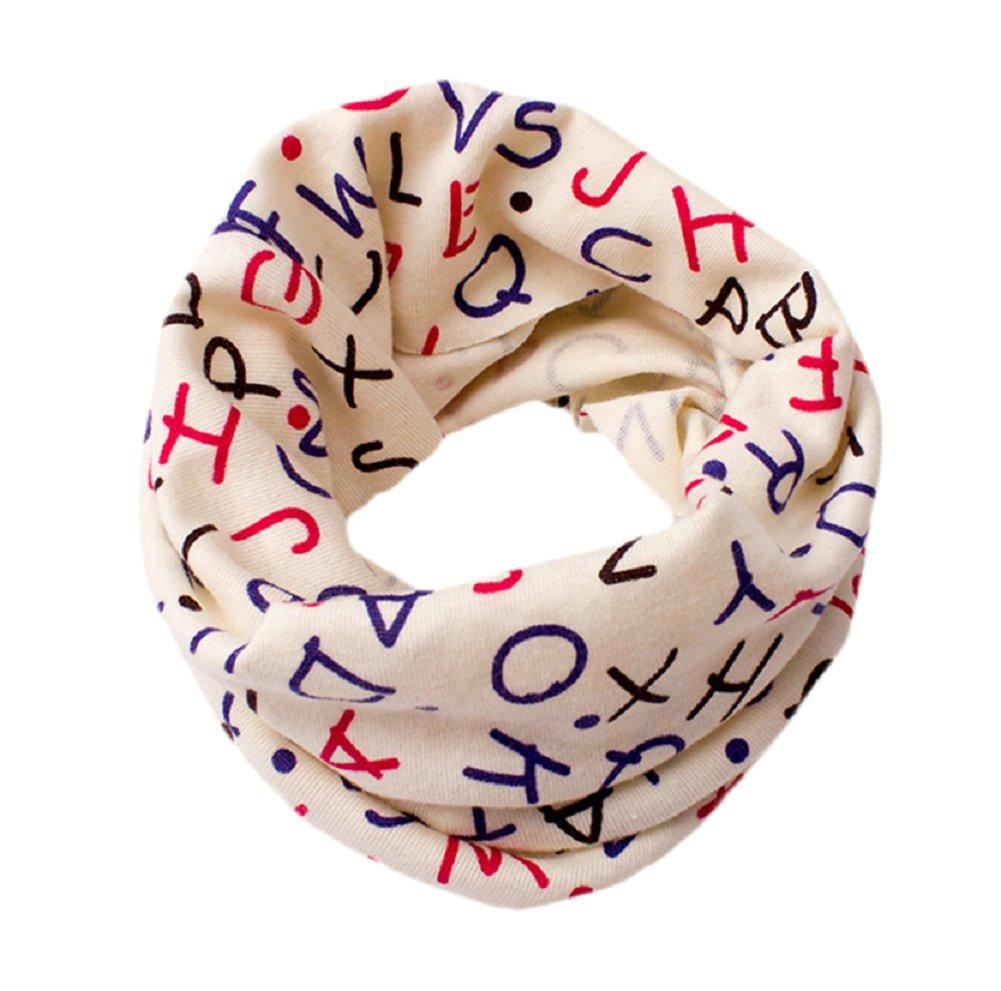 7 anni Cotone Lumanuby 1 X Hippie Inglese Alfabeto sciarpa per ragazzi caldo Loop sciarpa cotone multiuso invernale berretto in autunno e inverno per il tempo libero o sport per 1 40*20cm Beige