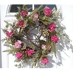 Melrose International Pink Geranium Ivory Wreath, 24-Inch 107
