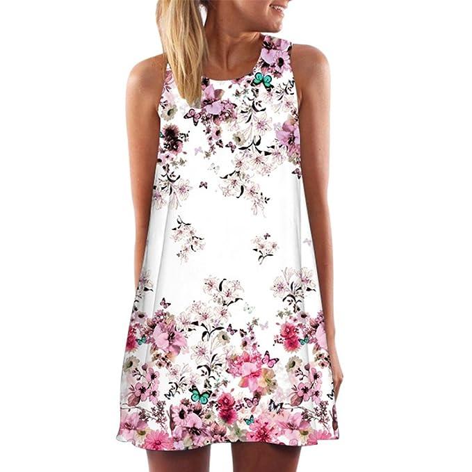 MRULIC Damen Lovely Mini Floral Printing A-Linie Kleider Beach Dress ...