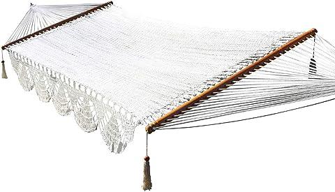 Wholestory Collective Large 2 Person Handwoven Nicaraguan Rope Crochet Spreader Bar Double Backyard Tree Hammock