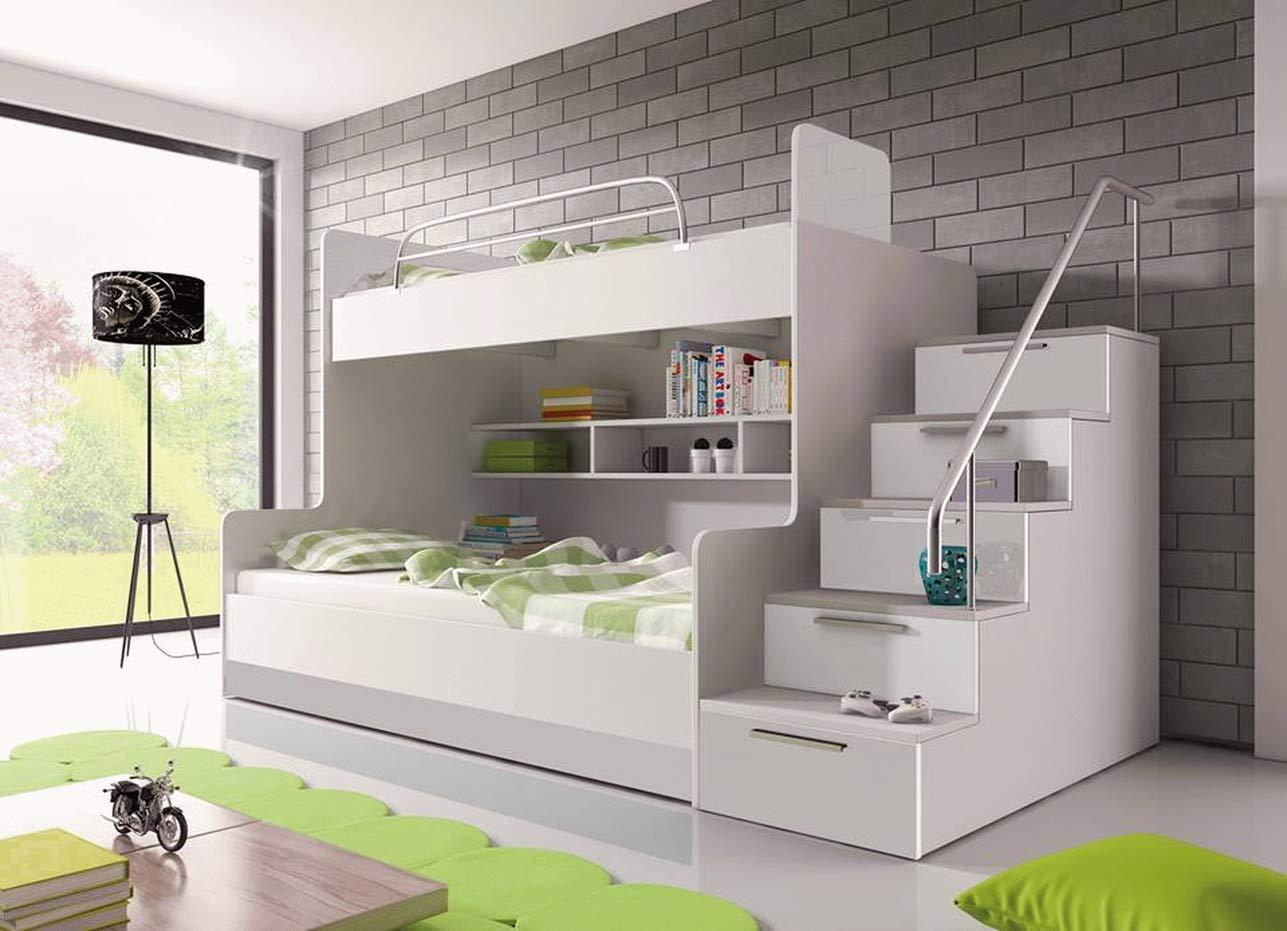Furnistad   Etagenbett für Kinder Heaven   Stockbett mit Treppe und Bettkasten (Option rechts, Weißszlig; + Schwarz Weiß Option rechts