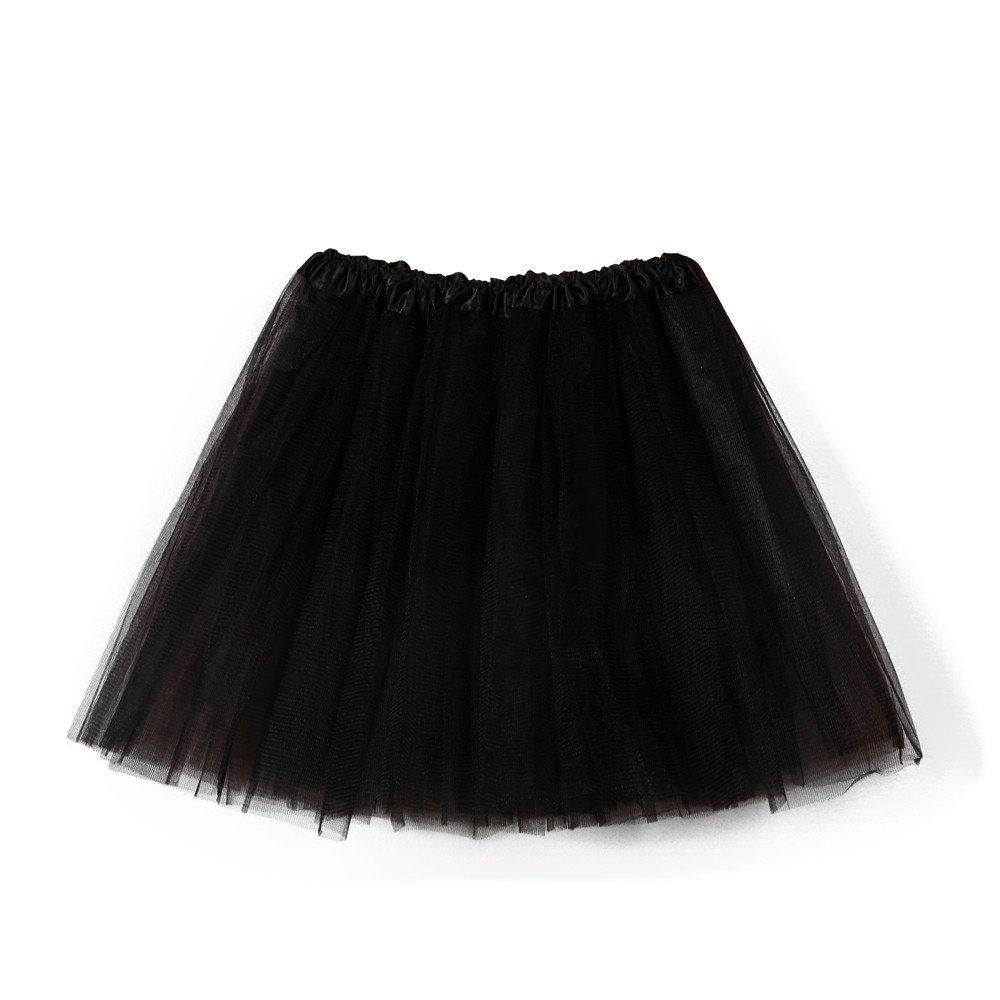NUWFOR Women's Teen憇 1950s Vintage Tutu Tulle Petticoat Ballet Bubble Skirt?Black?One Size?