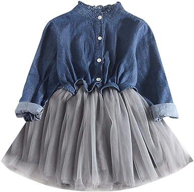 Aini Vestido De Bebe De NiñA Tutú Princesa Vestido Vestido De Mezclilla Camisa Vaquera De Manga Larga Vestido De Princesa Falda De Tul CóCtel Vestido ...