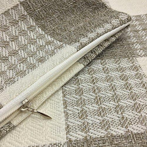 YOUR SMILE Retro Farmhouse Tartan Plaid Cotton Linen Square Decorative Throw Pillow Case Cushion Cover Pillowcase for Sofa 18 x 18 Inch, Set of 2 (Beige/New Checker) by YOUR SMILE (Image #5)