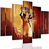Feeby. Multipart Canvas - 5 panels - Wall Art Picture, Image Printed on Canvas, 5 parts, Type A, 100x70 cm, AFRICA, WOMAN, JUGS, BROWN, ORANGE