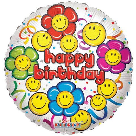 18 Conver USA 17724SP Birthday Smiley Foil Balloon Pack