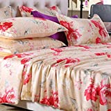 L&M Silk Four sets Mulberry silk Double-sided tian silk Jacquard Tribute satin Silk Stitching Piping Invisible Zipper Bed linings , red , 200230cm