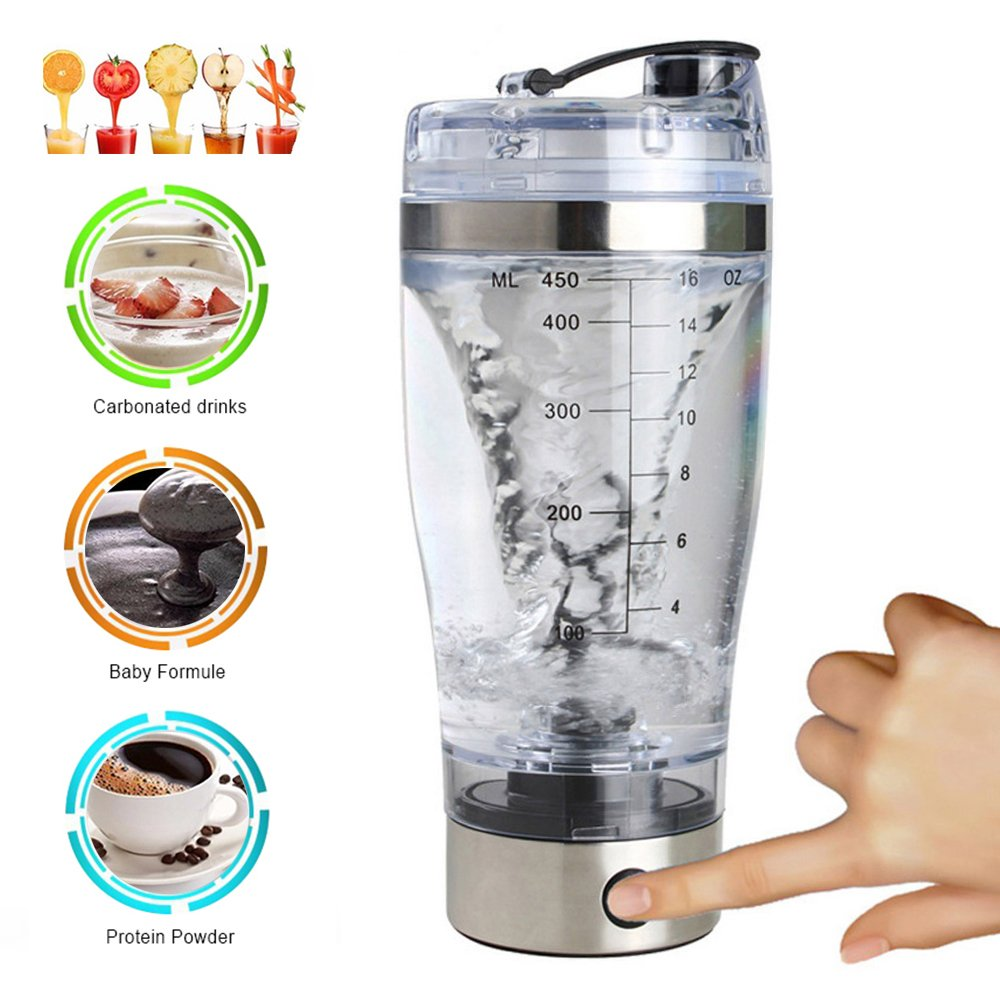 Electric Protein Shaker Mixer Shaker Bottle Electric Automatic Tornado Shaker Portable Stirring Blender for Workout Powder Supplements Coffee Protein elfisheu