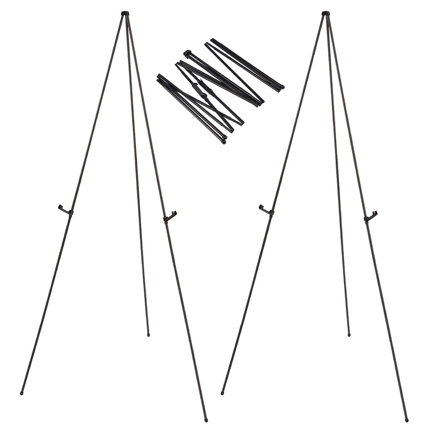 Folding Easel for Display, Magicfly 63 Inch Floor Poster Easel Stand Lightweight Aluminum Telescoping Easels, Black, Pack of 2 by Magicfly