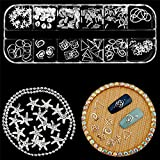 WOKOTO 4 Boxes Rose Gold Metal Nail Studs Silver 3D Punk Star Moon Heart Triangle Square Rivet Gems Nail Art Jewels Decoration With Tweezers And Picker Pencil