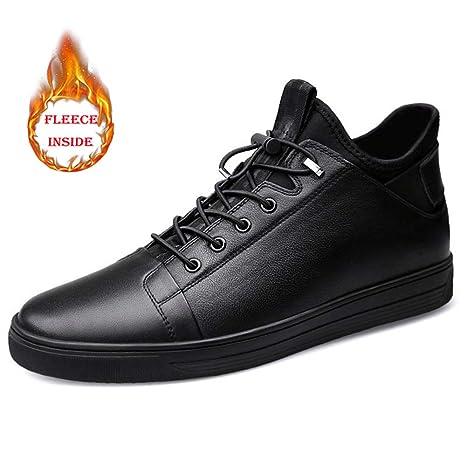 HILOTU Zapatos Planos de Piel para Hombre Bota de Vestir con Cordones Regalos de Boda de La Oficina de Trabajo de Moda Botas Invierno Hombre (Color : Warm ...