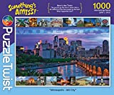 "Something's Amiss! Minneapolis - Mill City is a 1000 piece jigsaw puzzle with a twist. The puzzle ON the box is more than a bit different from the puzzle IN the box! Can you find all of the differences?  Puzzle measures 26.5"" x 19.25"" when complet..."