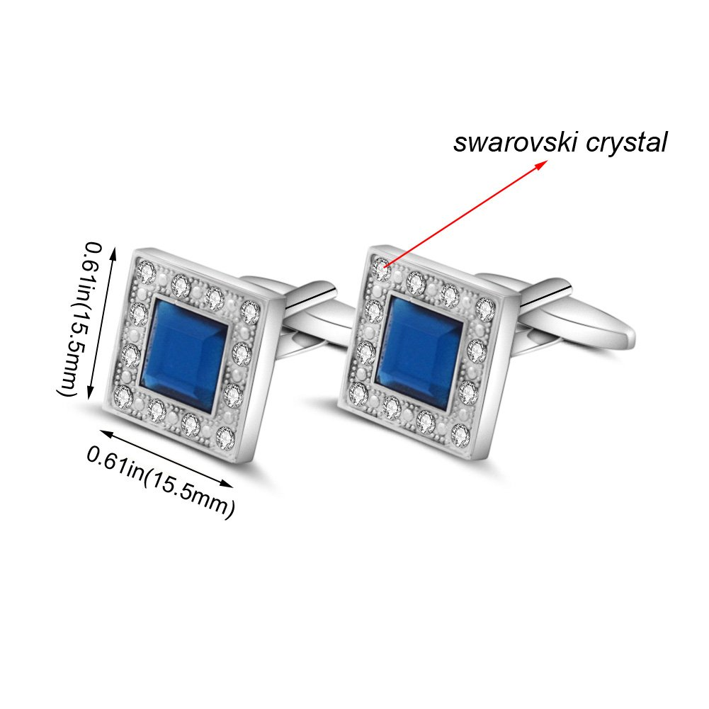 MERIT OCEAN Blue Navy Swarovski Crystal Square Cufflinks for Men Classical Swarovski Cuff Links with Gift Box Elegant Style by MERIT OCEAN (Image #4)