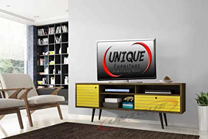 Unique Furniture Solid Wooden Tv Unit Cabinet Furniture Entertainment Stand Solid Sheesham Wood Tv Stand Unit Cabinet With 2 Drawer 3 Shelve Tv Units Furniture Home Living Room Yellow Wood Amazon In Home