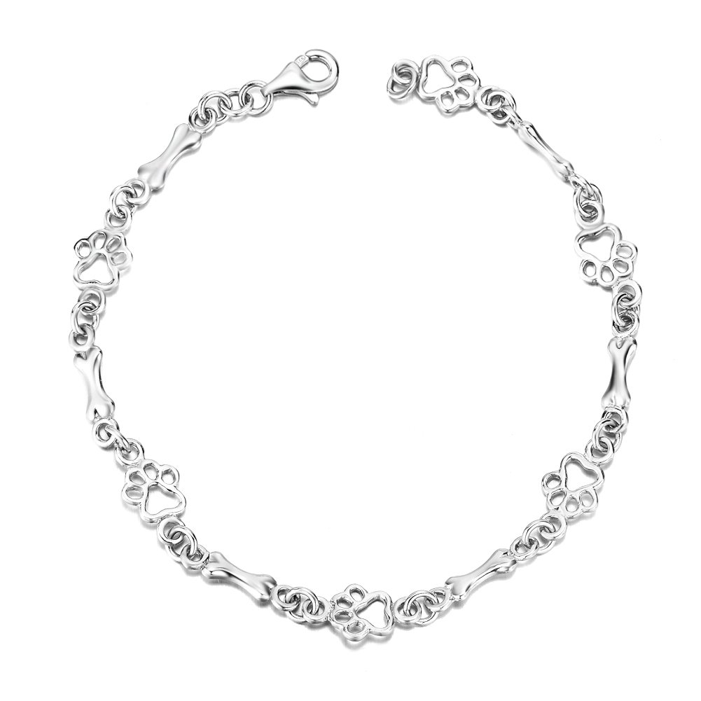 LUHE Paw Print Bracelet Sterling Silver Cute Dog Paw Bracelets for Women Girls, 7.5''