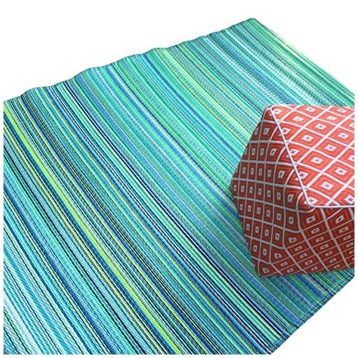 Garden and Outdoor Green Decore Plastic Stain Proof Reversible Fade Resistant Premium Patio Outdoor Rug (5 x 8, Turquoise Blue) outdoor rugs