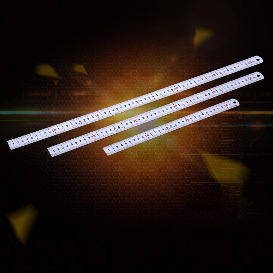 color: astilla 50cm 60cm Regla de doble cara Regla de metal m/étrica de acero inoxidable Herramienta de medici/ón de la regla de la bolsa de bolsillo 50cm DF-ES 30cm