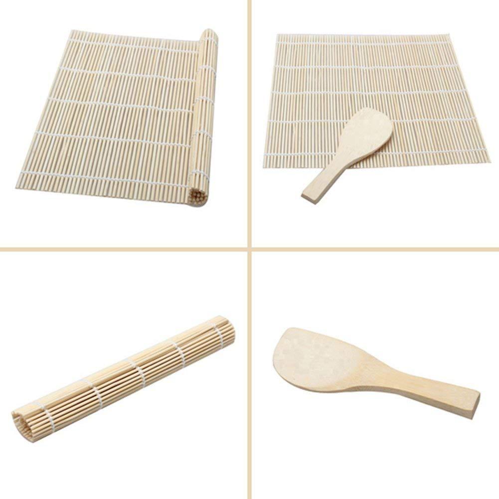 Ogquaton Tappetino per sushi in bamb/ù di qualit/à premium Fai rotolare gli utensili per sushi Sushi Shovel Dice Rotolo di sushi