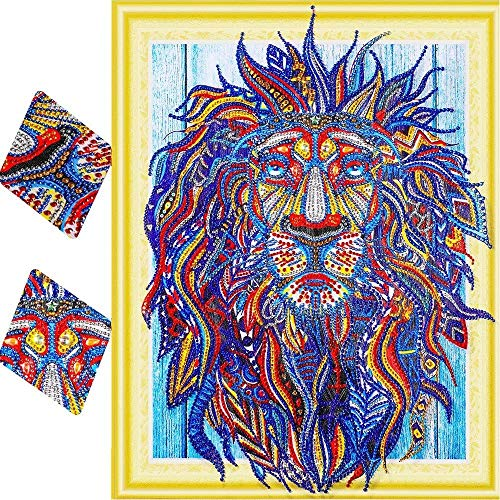YOMIA 5D DIY Diamond Embroidery Special Shaped Diamond Painting Animal Cross Stitch Patterns Lion Picture Rhinestones Diamond DIY Paint by Number Kits