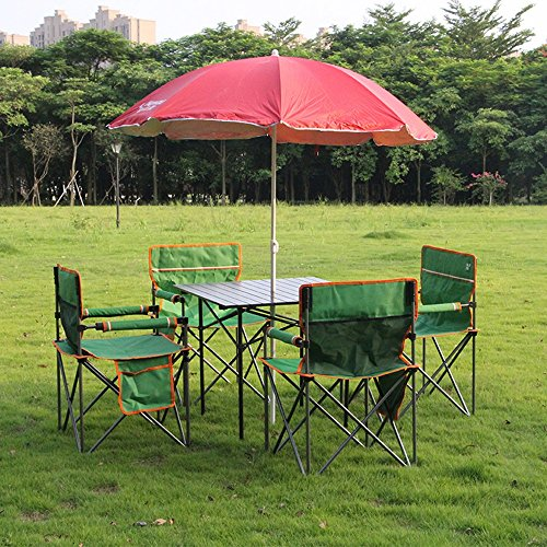 QFFL Folding Table And Chair Set Combination Aluminum Tables And Chairs Camping BBQ Beach Chairs 4 Colors Optional lifetime folding table (Color : C)