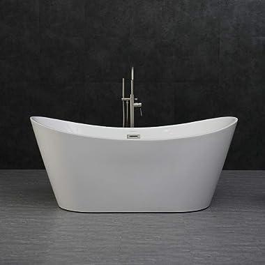 Woodbridge 67 X32  Acrylic Freestanding Bathtub Tub with Brushed Nickel Overflow and Drain, B-0010/BTA1515 White, B-0010