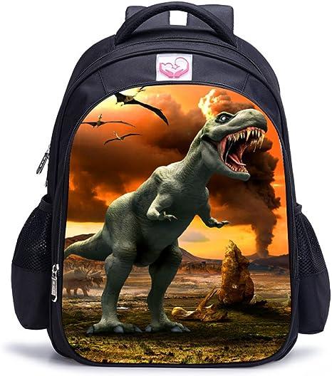 Imagen deMemoryee Dinosaurio 3D Impresión Realista Childrens Backpack Kindergarten Primary School Mochila Escolar Mochila de Lona Laptop Book Satchel Bolsa de Caminata - 15L / 32 x 17 x 42 cm (Dinosaurio06)