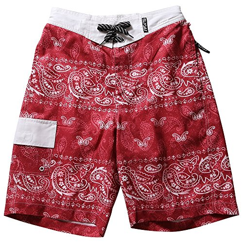 SAFS Men's Boardshorts Swim Trunks Designed Shorts Paisley Red 33