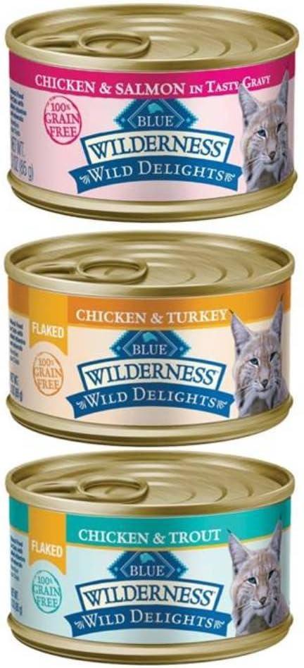 Wilderness Blue Buffalo Wild Delights Grain Free Natural Cat Food 3 Flavor Variety 6 Can Bundle: (2) Flaked Chicken/Turkey/Gravy, (2) Chicken/Salmon/Gravy, and (2) Flaked Chicken/Trout, 3 Oz. Ea.