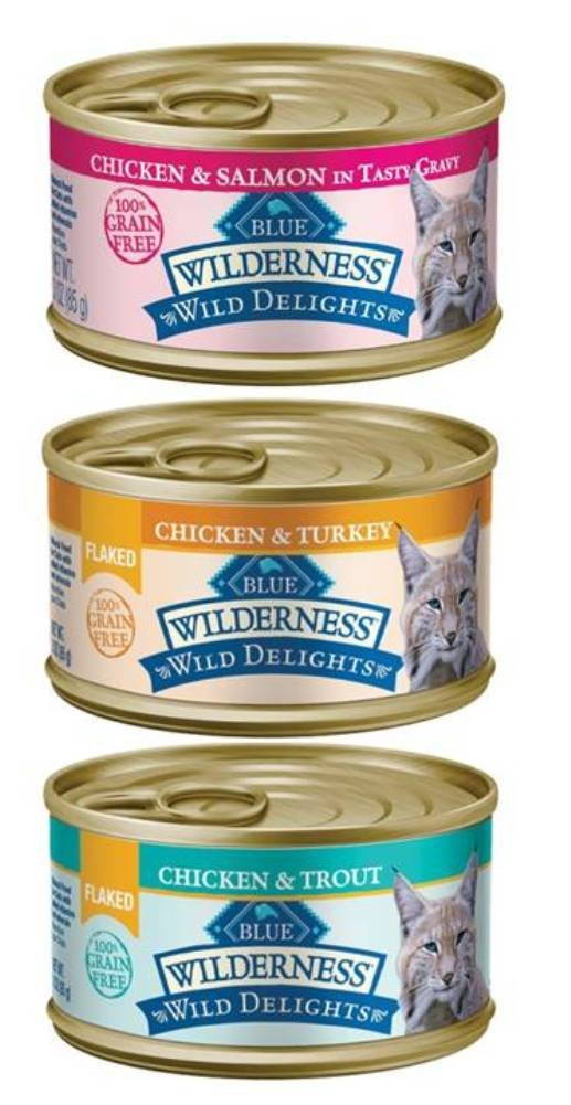 Blue Buffalo Wilderness Wild Delights Grain Free Natural Cat Food 3 Flavor Variety 6 Can Bundle: (2) Flaked Chicken/Turkey/Gravy, (2) Chicken/Salmon/Gravy, and (2) Flaked Chicken/Trout, 3 Oz. Ea.