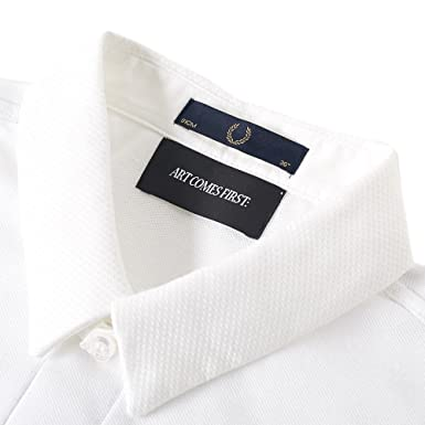 dd6766ac FRED PERRY X ART COMES FIRST WOVEN COLLAR POLO WHITE (40): Amazon.co.uk:  Clothing