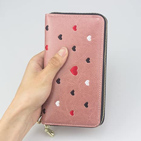 Amazon.com: Long Women Leather Wallet Purse Credit Card ...